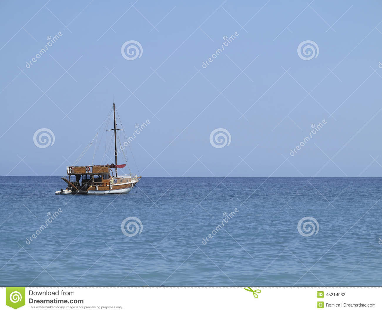 Old Wooden Fishing Boat Trawler Over Calm Blue Sea Stock Photo - Image ...
