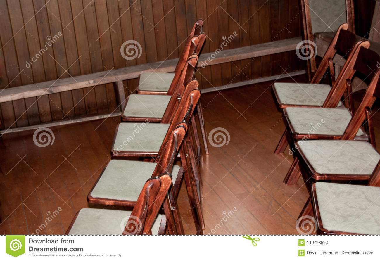 Old Wooden Folding Chairs With White Cloth Seats Stock Image Image