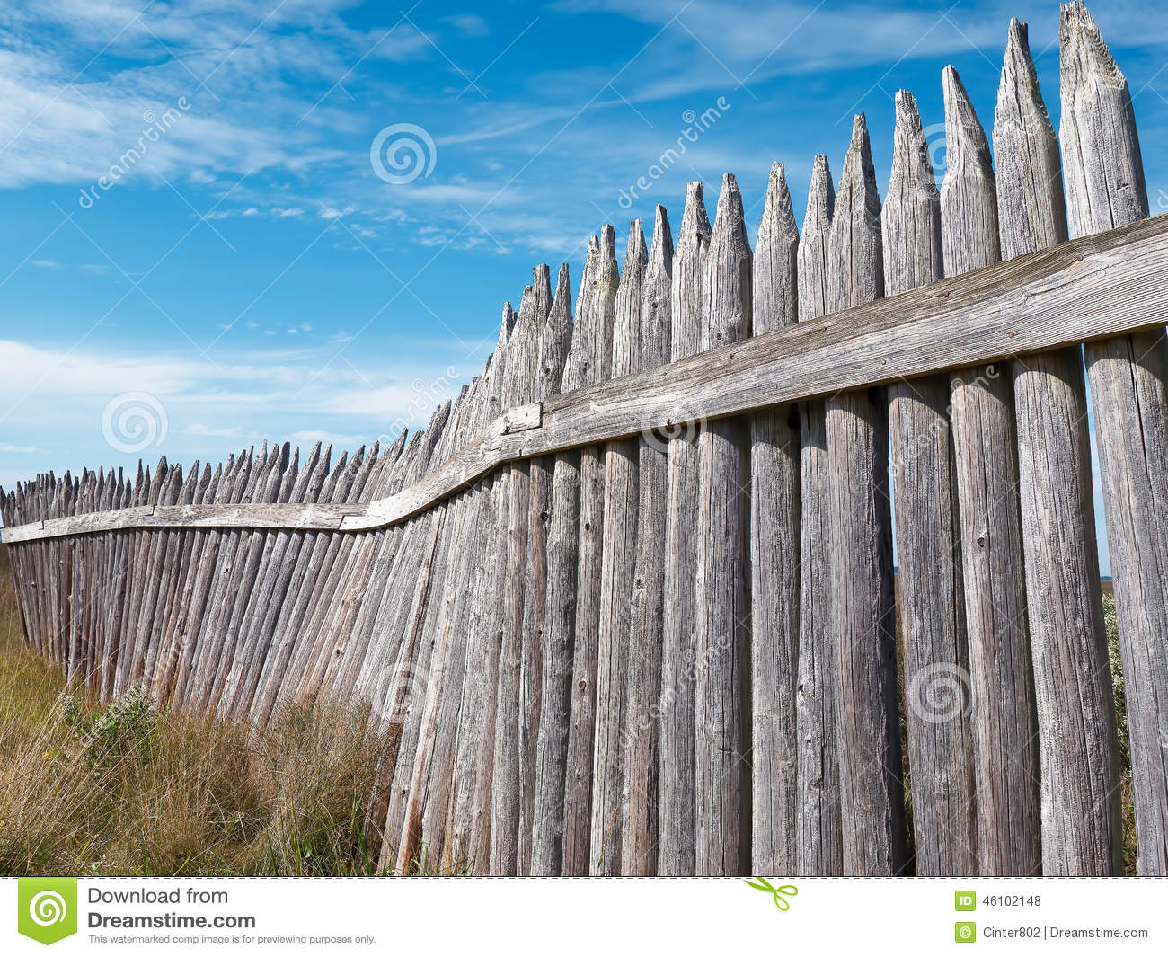 Old wooden fort wall against blue sky stock photo image for Old wooden forts