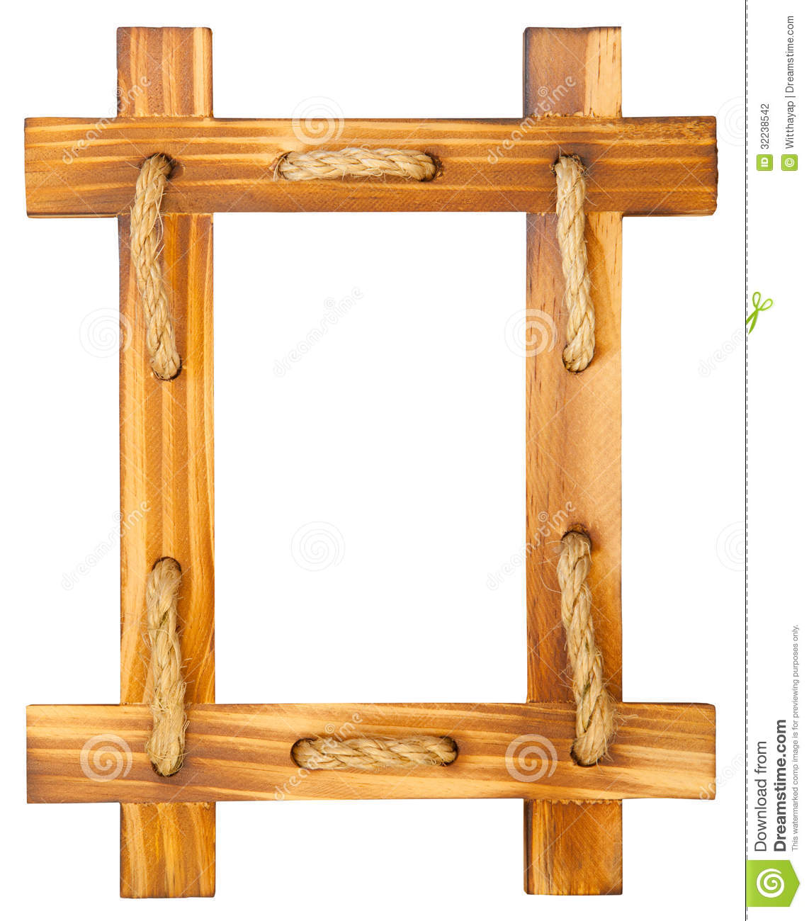 old wooden frame with rope stock photo image of hanging 32238542. Black Bedroom Furniture Sets. Home Design Ideas