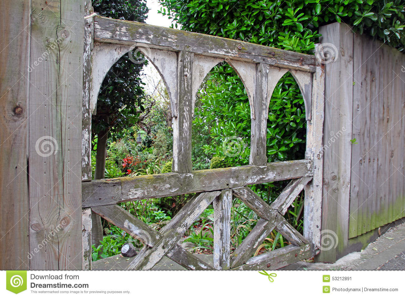 Old wooden gate stock photo image