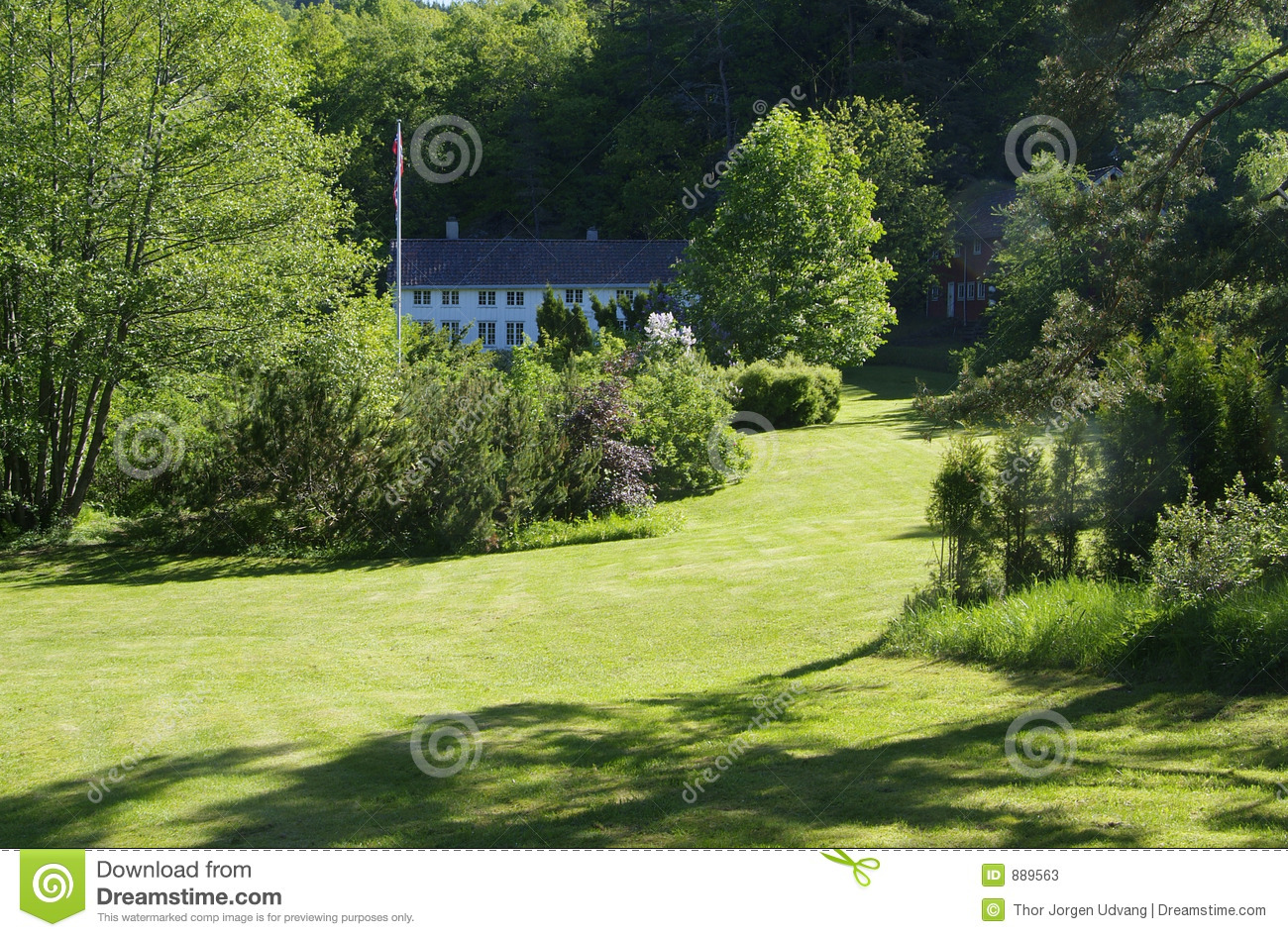 Old wooden house in big garden stock image image of for Landscaping large gardens
