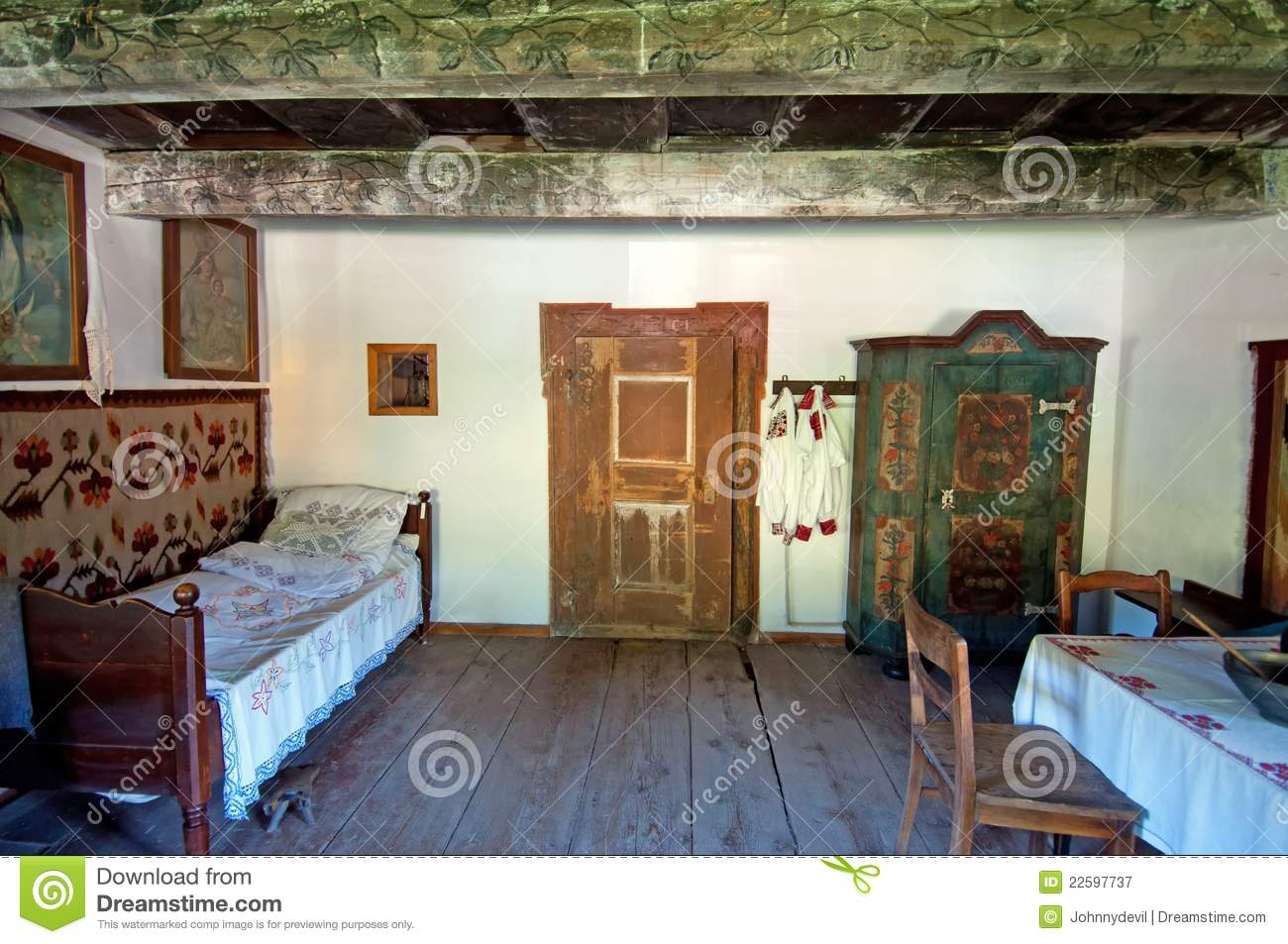 old wooden house interior royalty free stock photography image 22597737. Black Bedroom Furniture Sets. Home Design Ideas