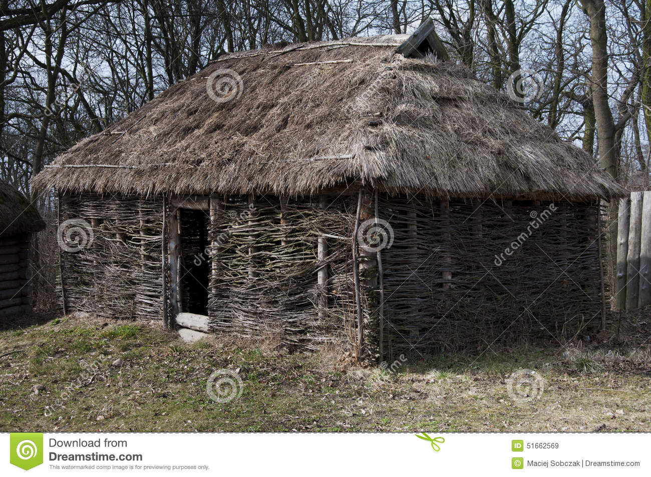Medieval House Straw Roof Stock Photos - Royalty Free Pictures for Medieval Cottage In The Woods  183qdu