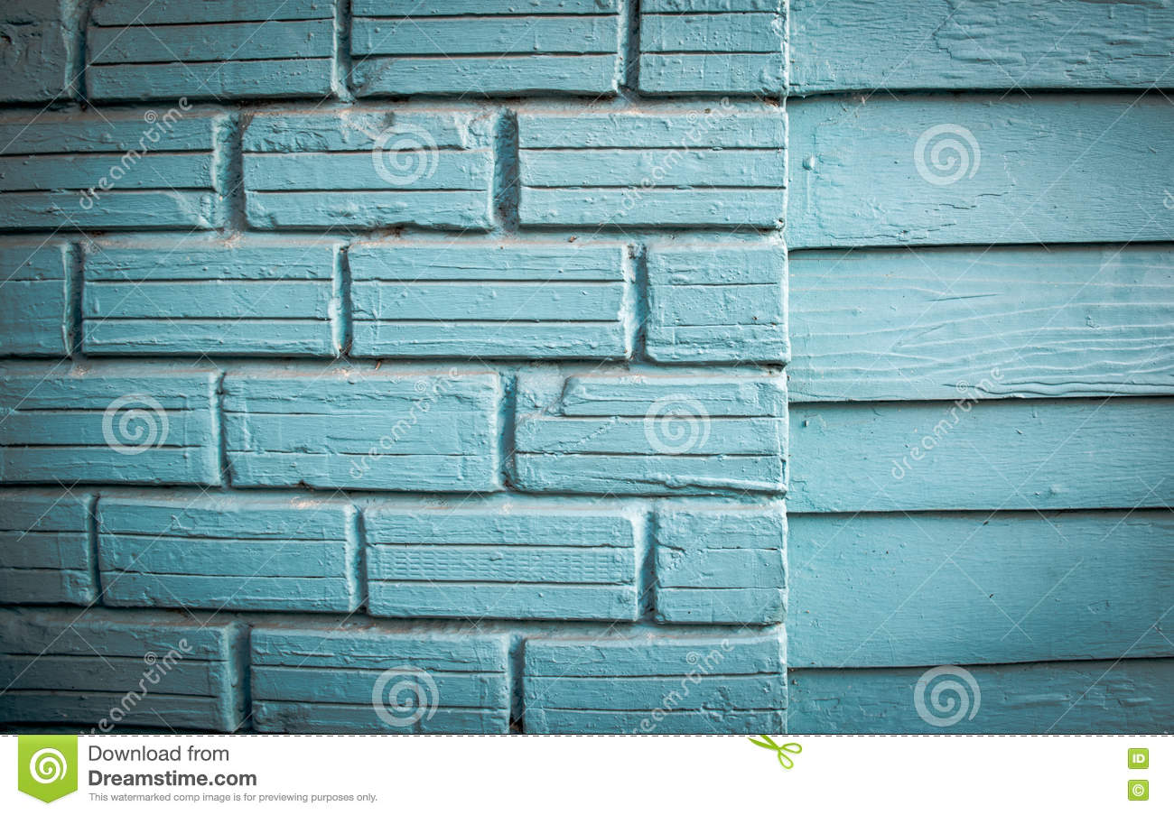 The old wooden house Painted bright blue.