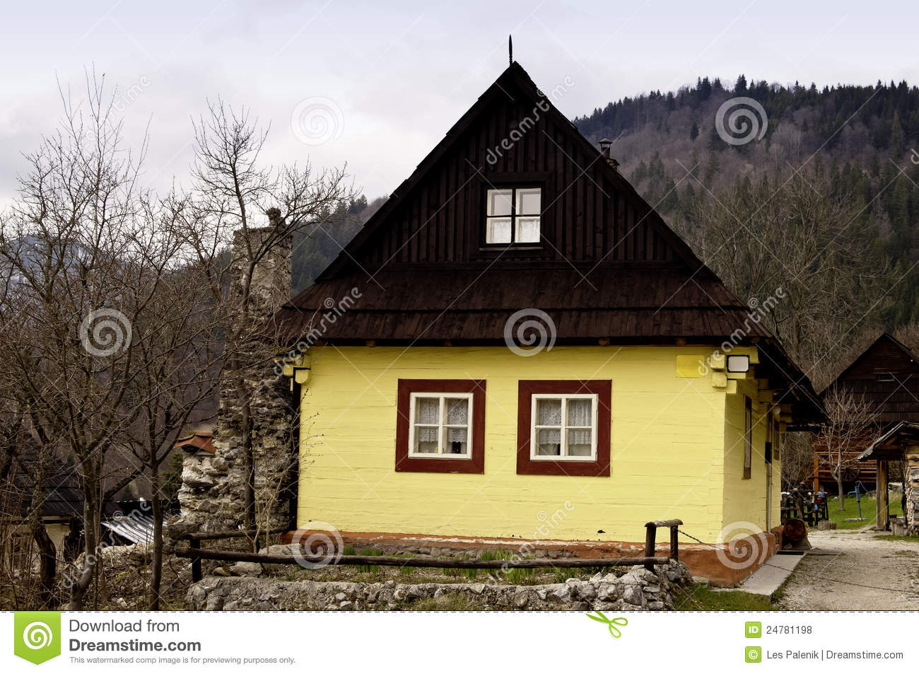 Old Wooden House Painted Yellow Stock Photo Image Of