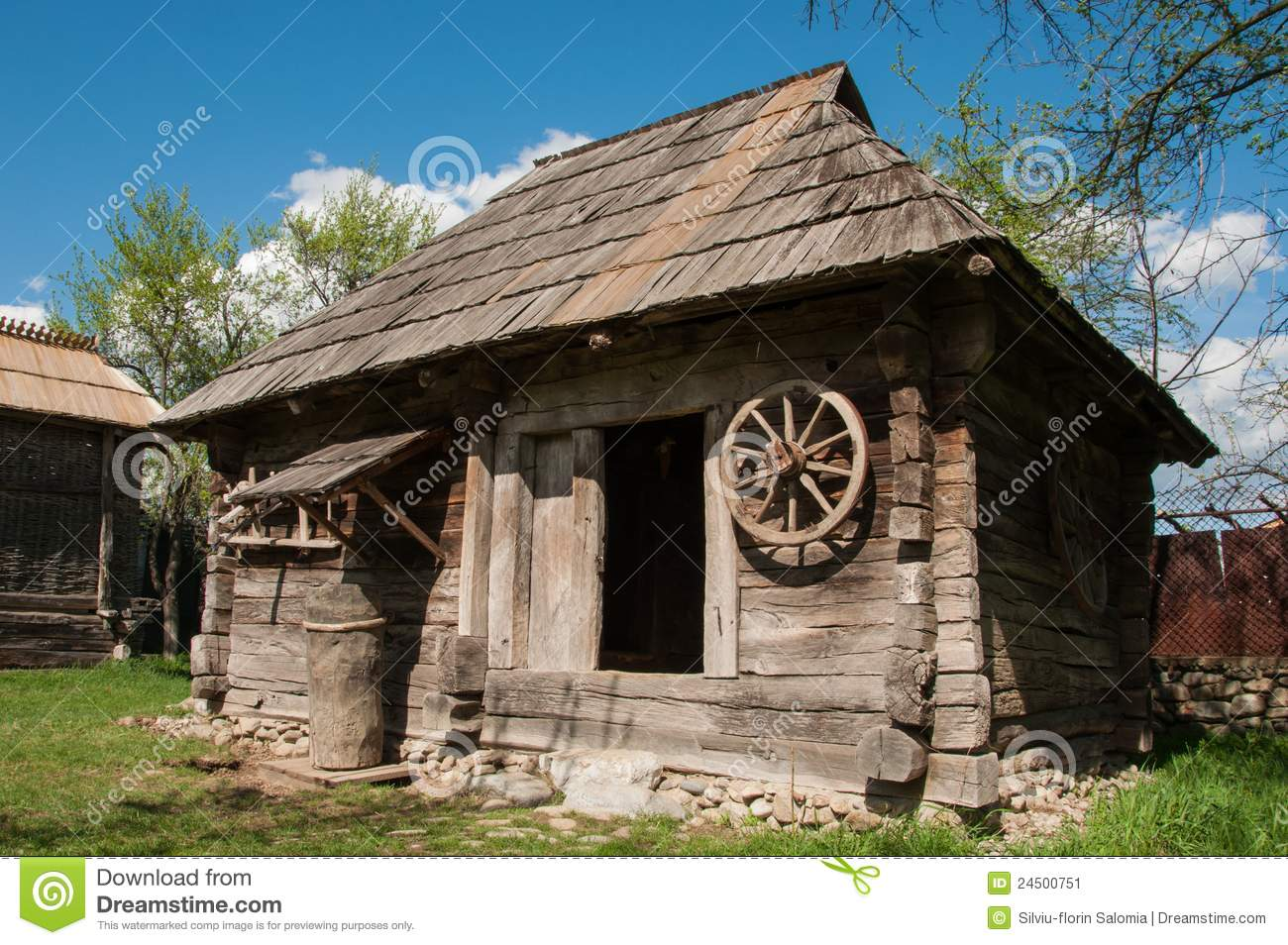 Old wooden house in rural romania stock image image of for Wood house images