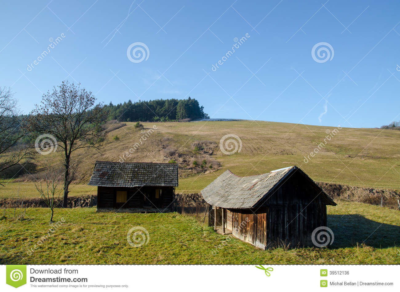 Old wooden house on sunny meadow landscape