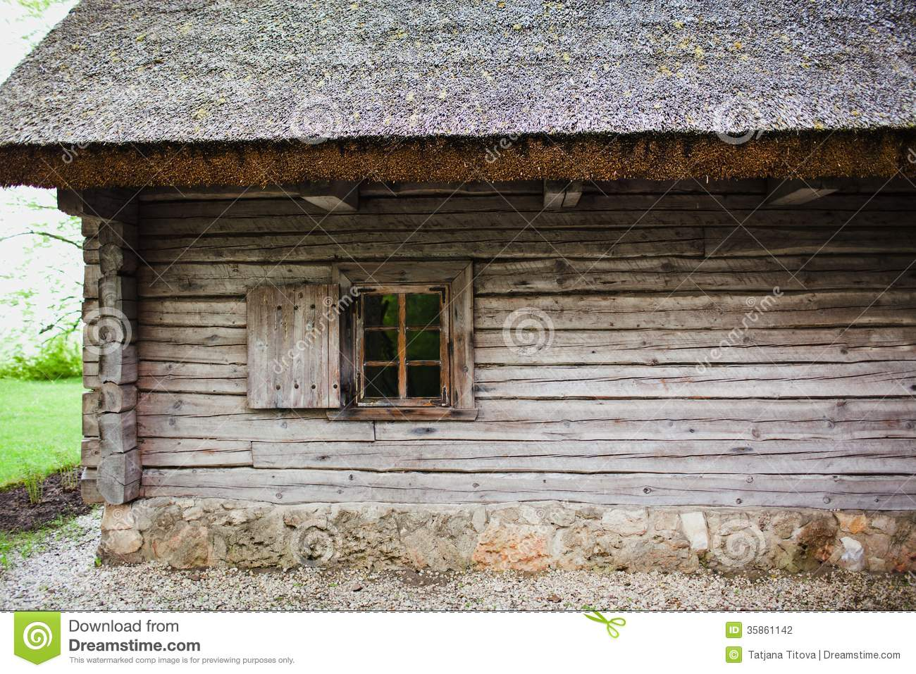 Old Wooden House With Thatched Roof Stock Photo Image