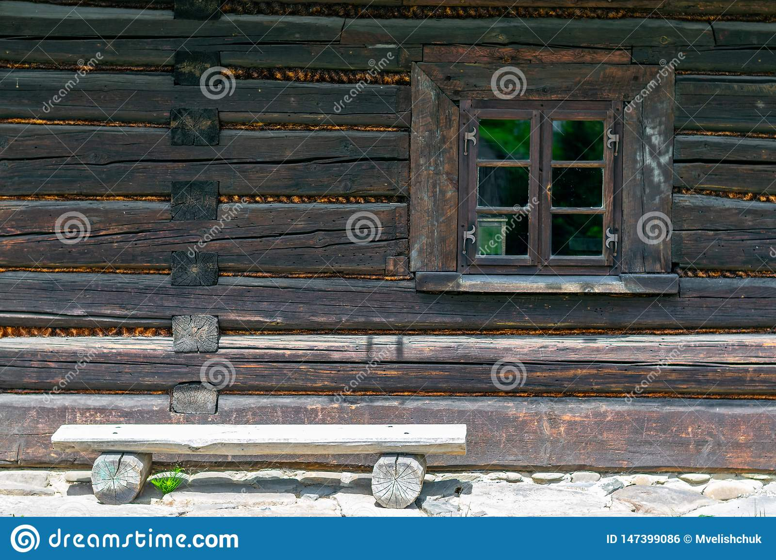 Old wooden house window.