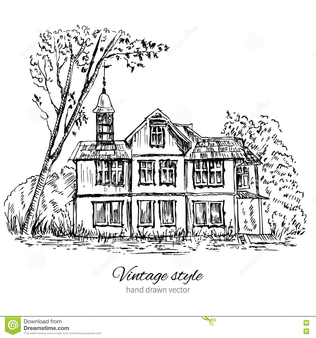 Line Art Of White House : Old wooden house in wood europe vector illustration