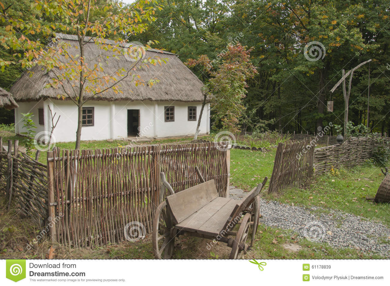 Old Wooden House In The Woods Near The House Old Horse Drawn