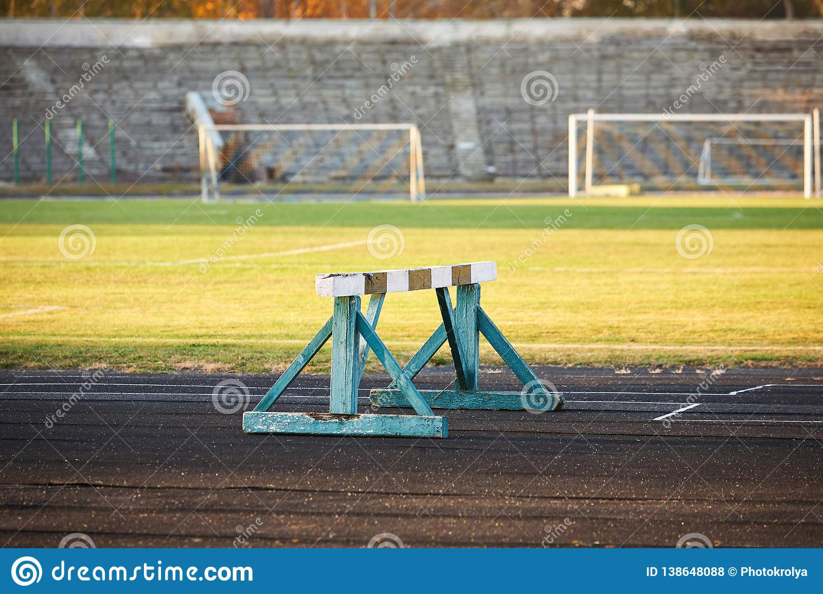 Old wooden hurdle race barrier obstacle