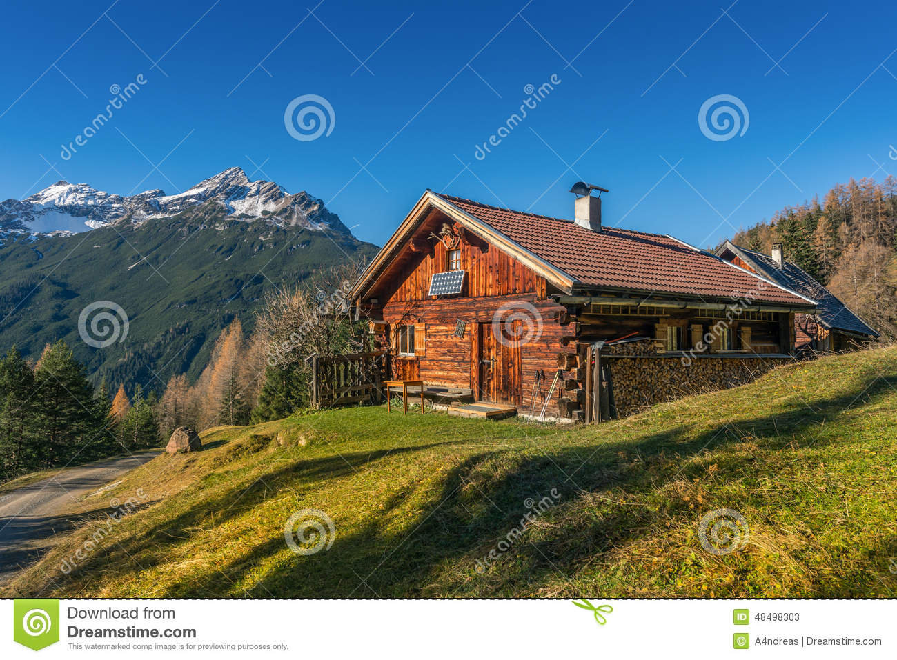 Old Wooden Hut Cabin In Mountain Alps Stock Photo Image 48498303