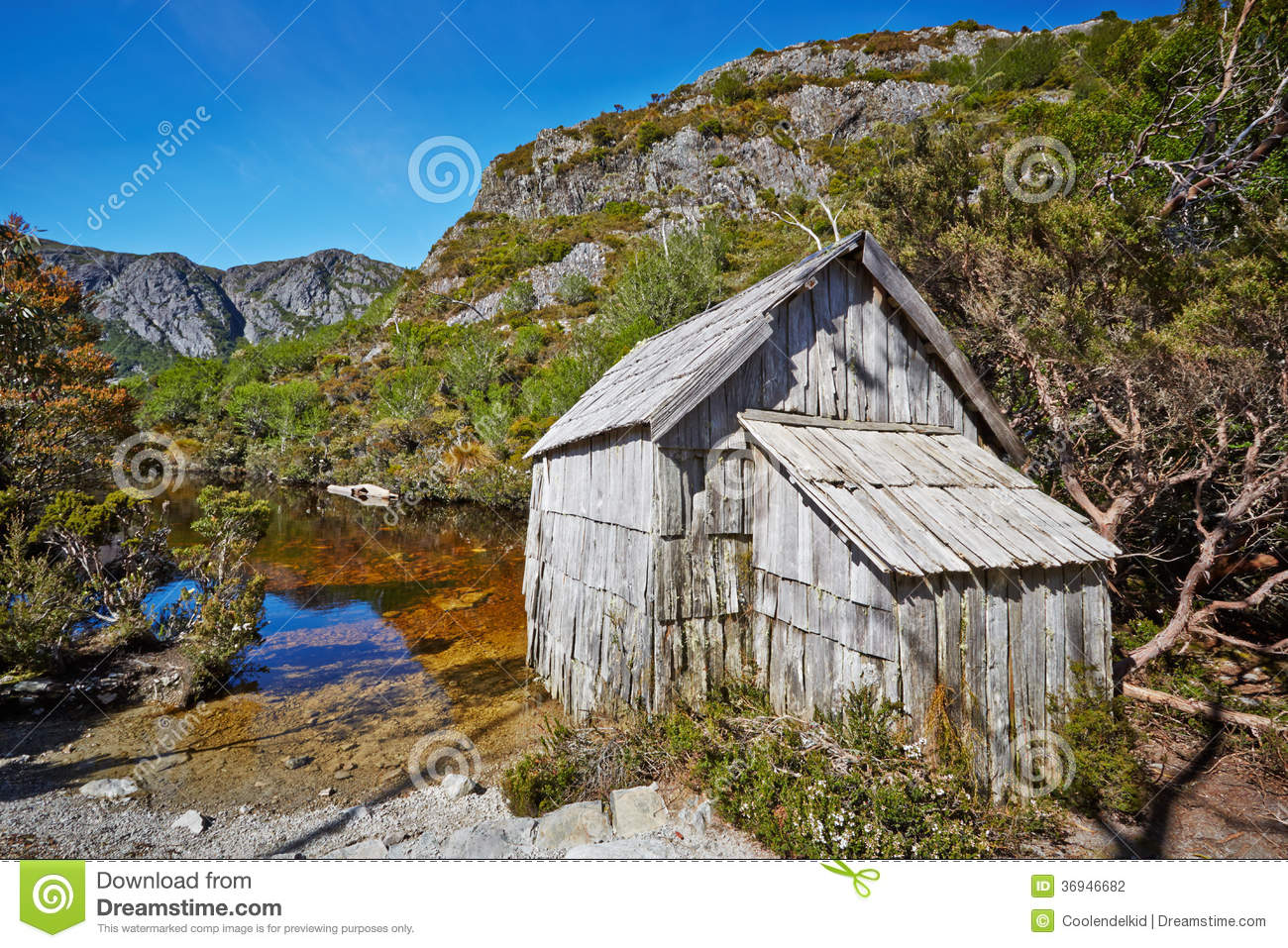 wooden hut near mountain - photo #10
