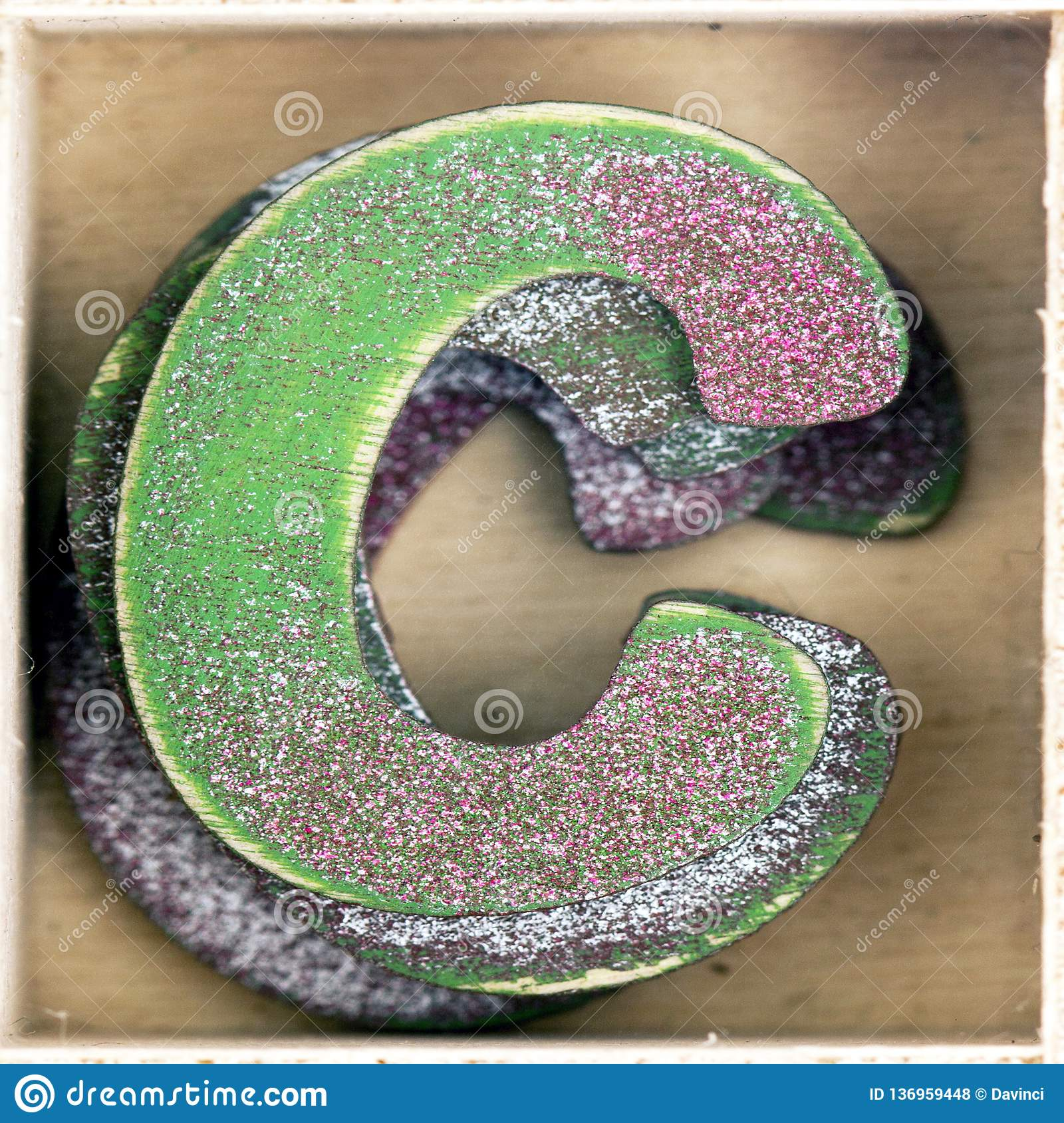 Old Wooden Letter C In A Box Stock Photo