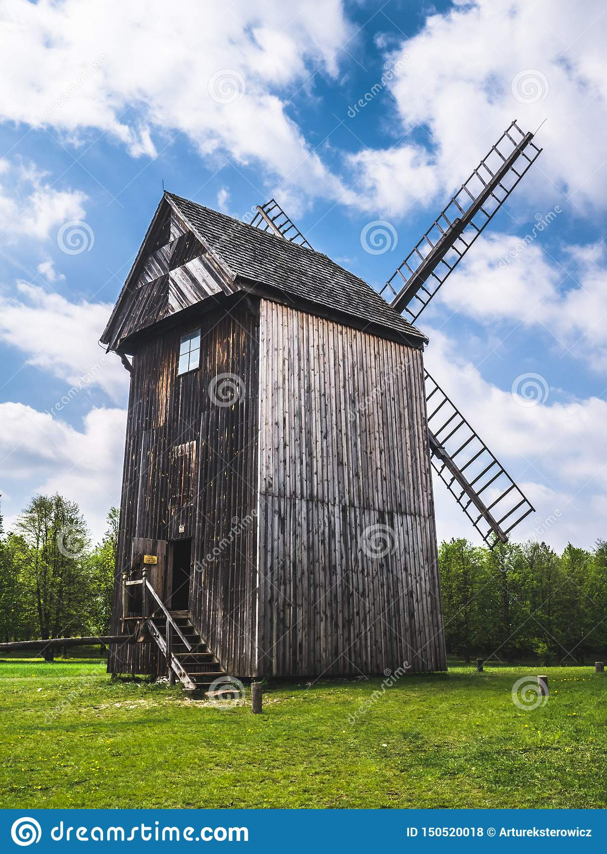 Old wooden mill in the countryside