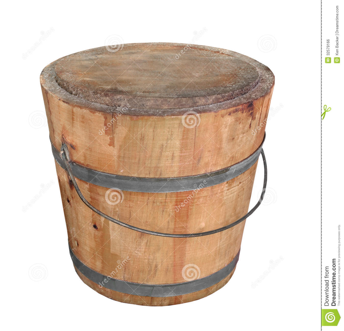 Old wooden pail isolated.