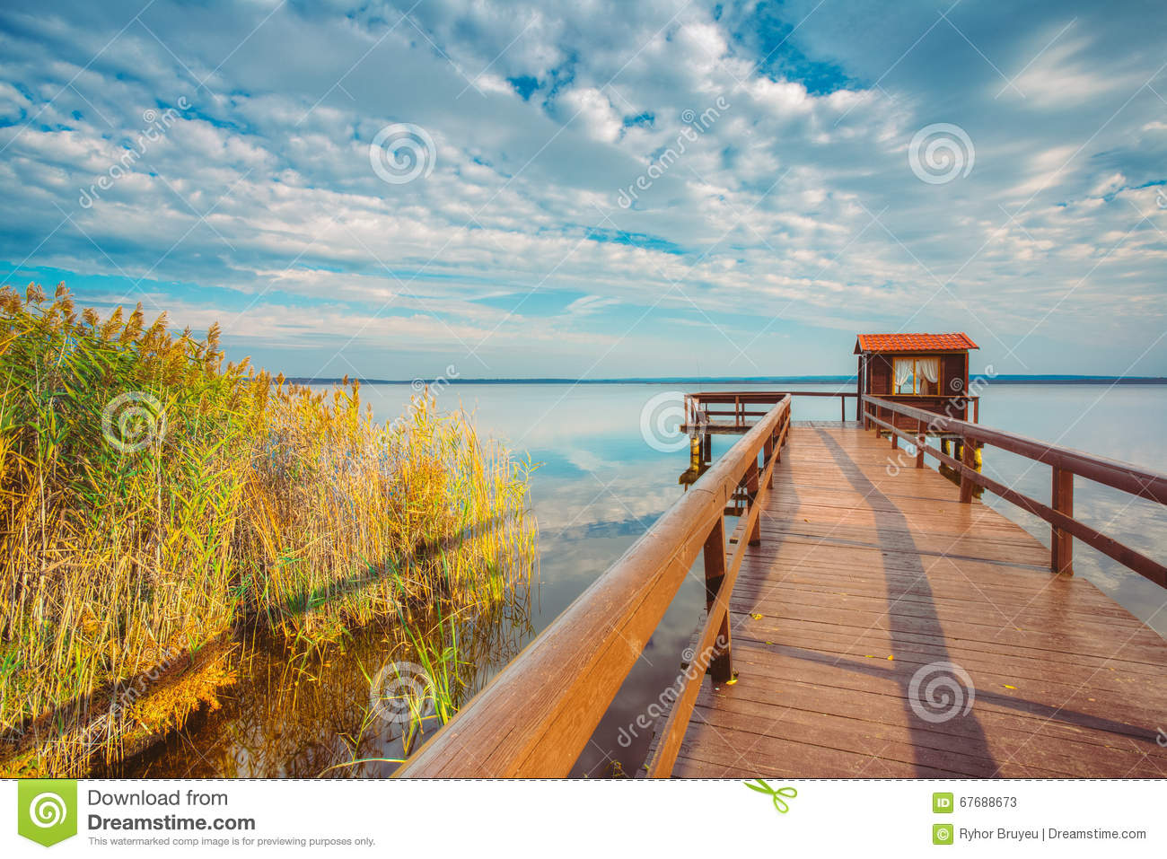 Old wooden pier for fishing small house shed and beautiful lake stock photo image 67688673 - Wooden vacation houses nature style ...