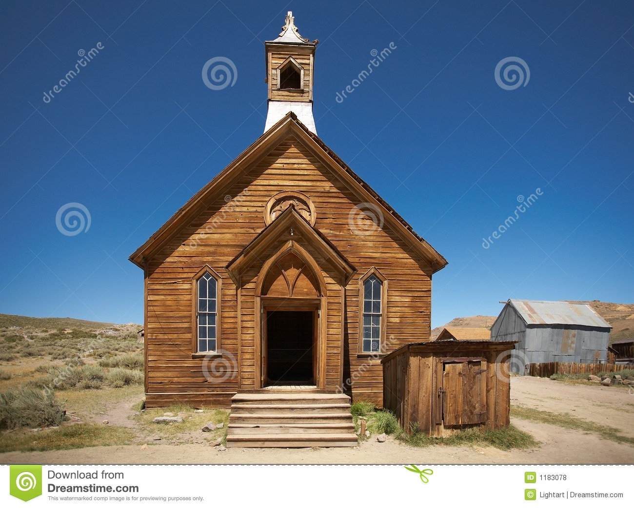 Old Wooden Pioneer Church Stock Photo Image Of Bodie