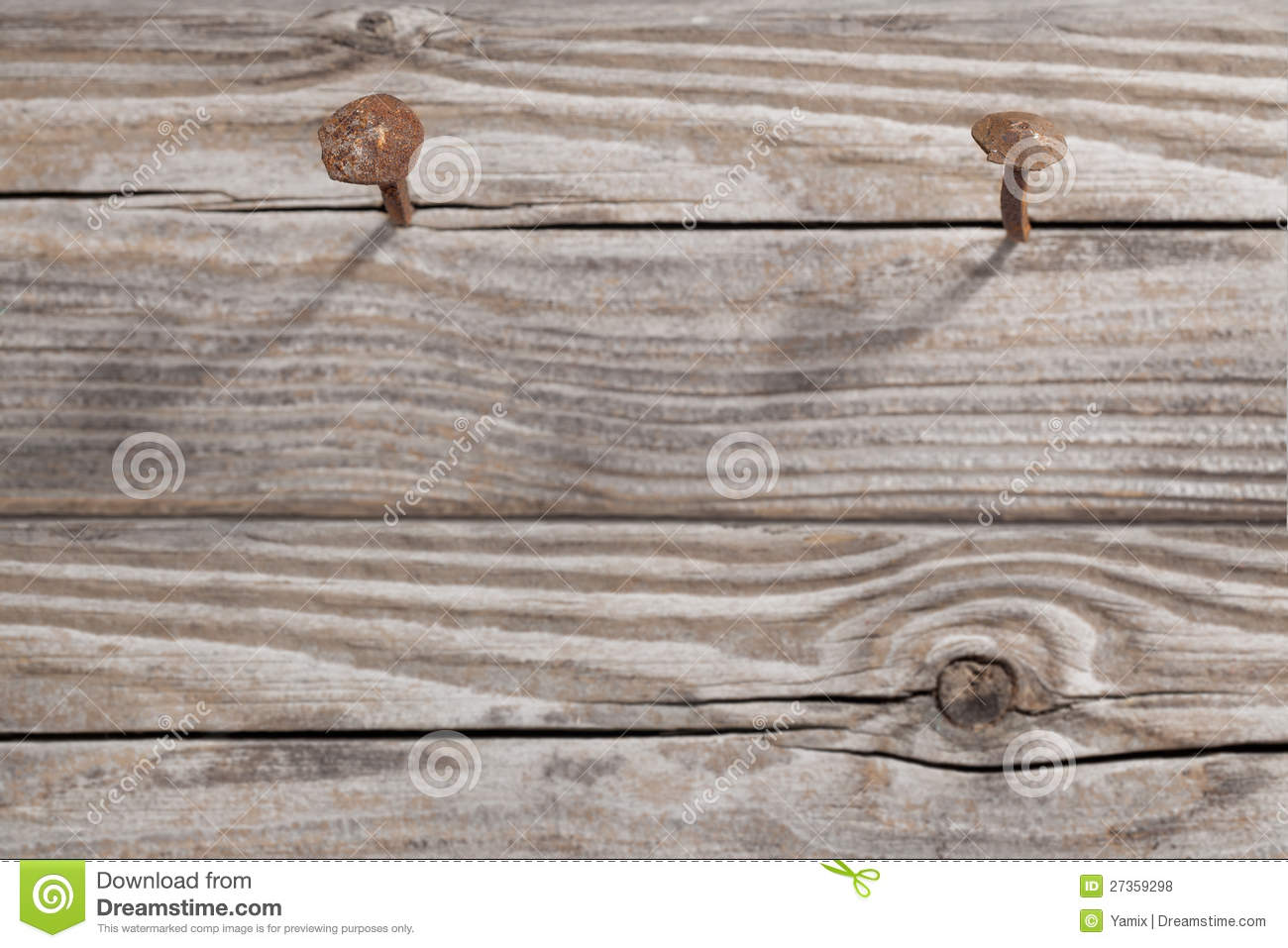 Old Wooden Planks And Two Rusty Nails Royalty Free Stock ...