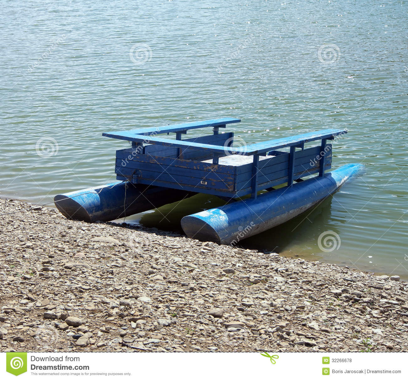 Old Wooden Pontoon Boat On Lake Royalty Free Stock Photos - Image: 32266678