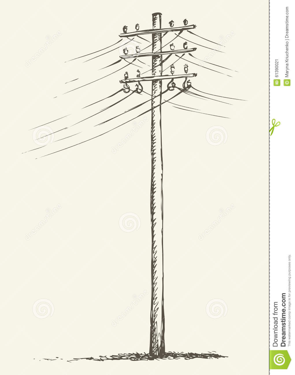 Old Phone Wiring Diagram Guide And Troubleshooting Of 4 Wire Jack Wooden Power Pole Stock Vector Image 61390021