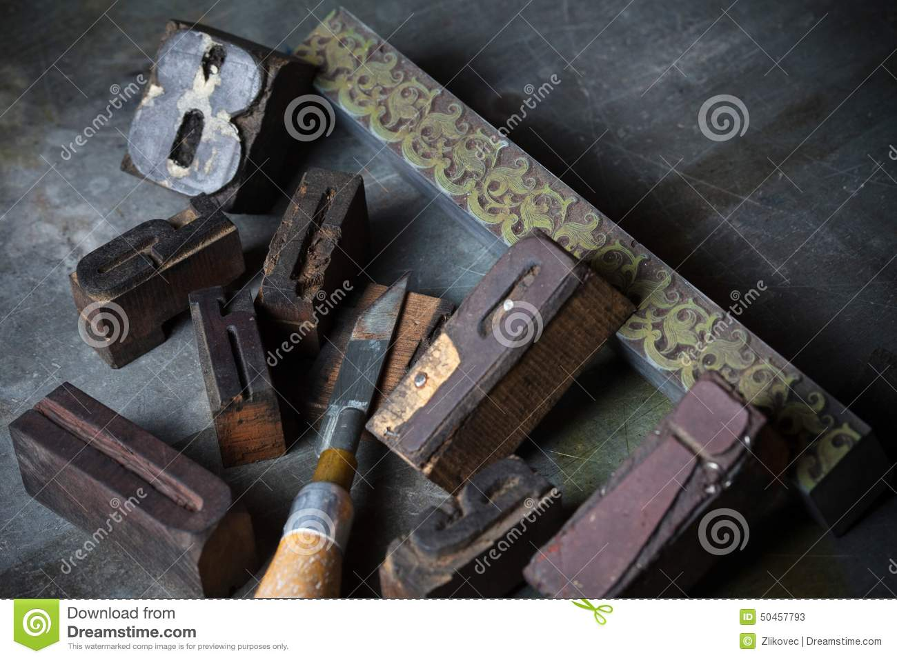 old wooden printing press letters stock photos
