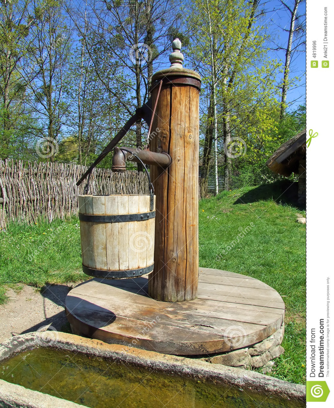 Royalty Free Stock Image Old Wooden Pump Village Image4819996 on Water Well Pump House Plans
