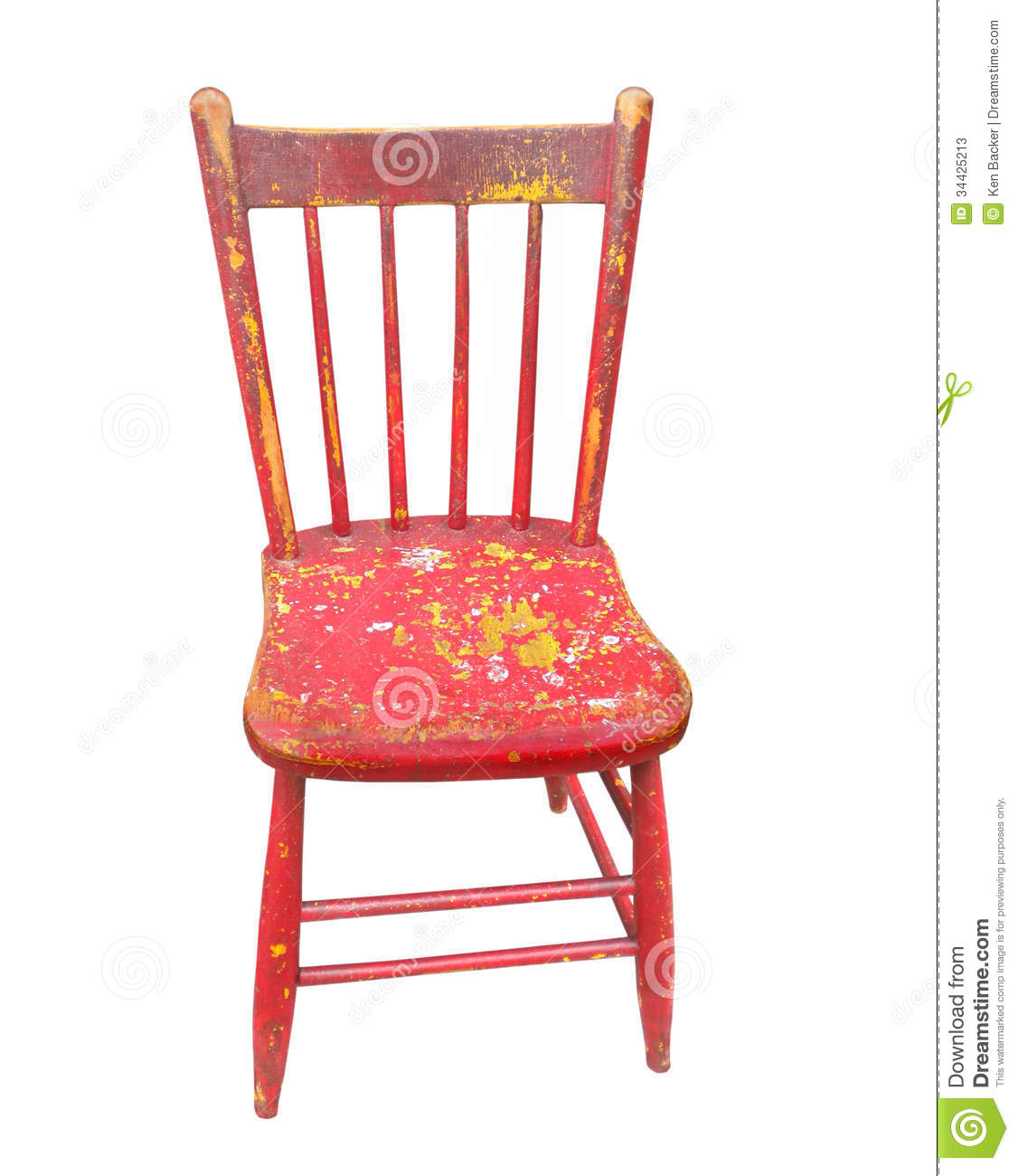 Old Wooden Red Chair Isolated Stock Photos Image 34425213