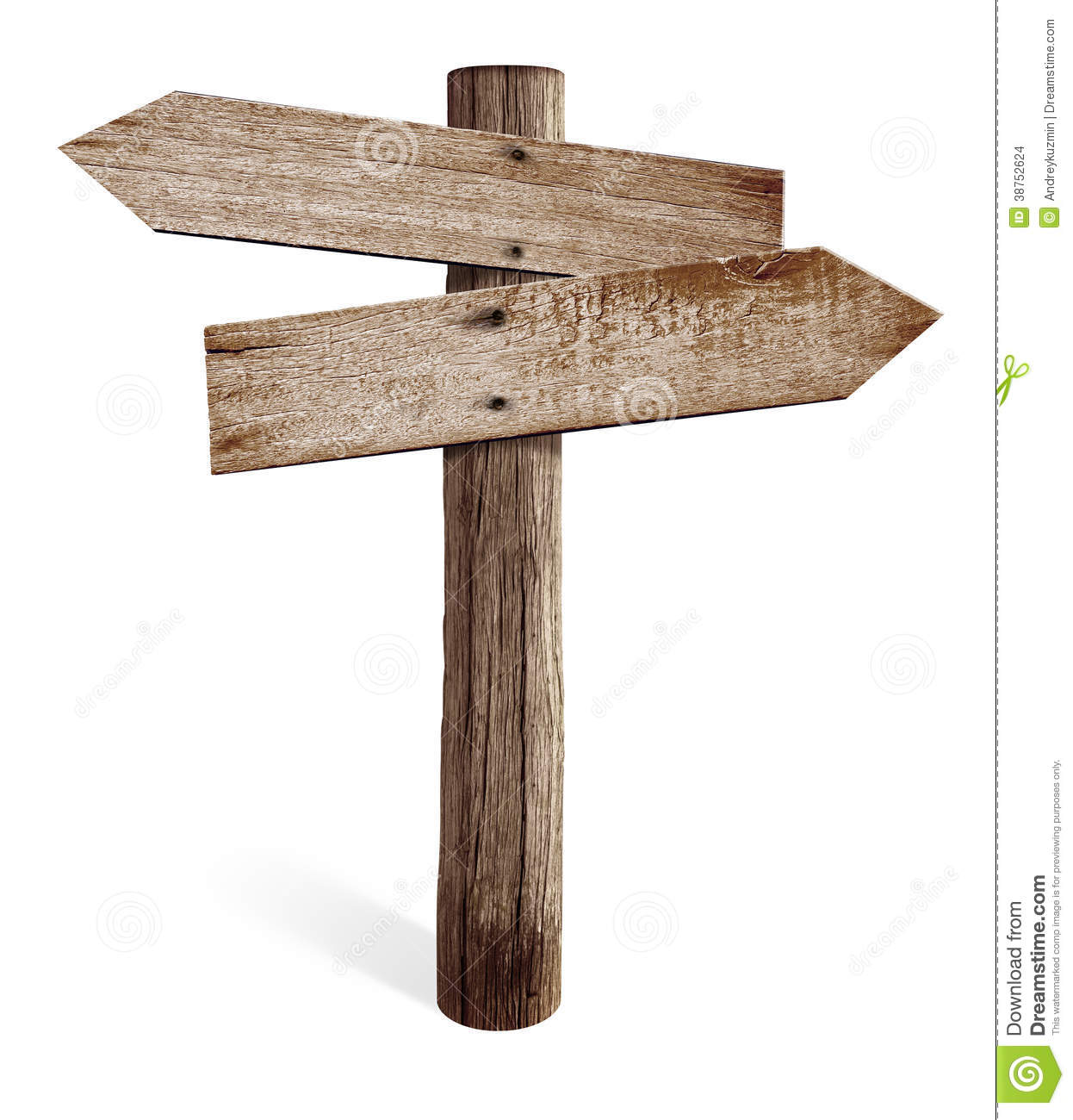 old wooden road sign with left and right arrows stock