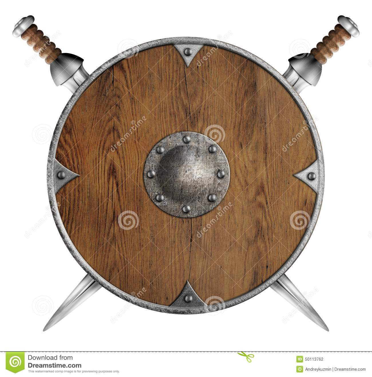 Old Wooden Round Shield And Two Crossed Swords Stock Photo ...