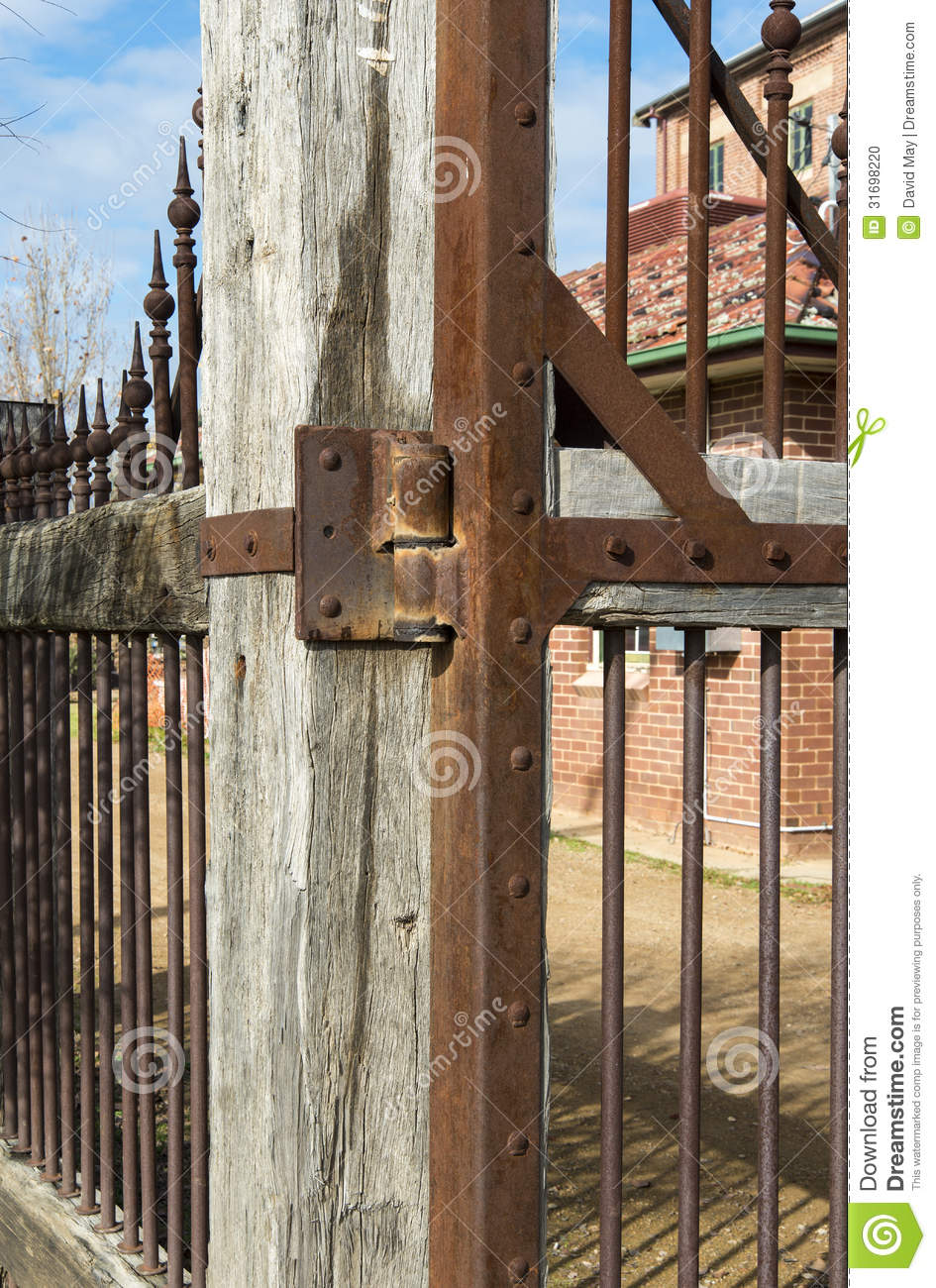 Old Wooden And Rusty Metal Fence Stock Photo Image 31698220