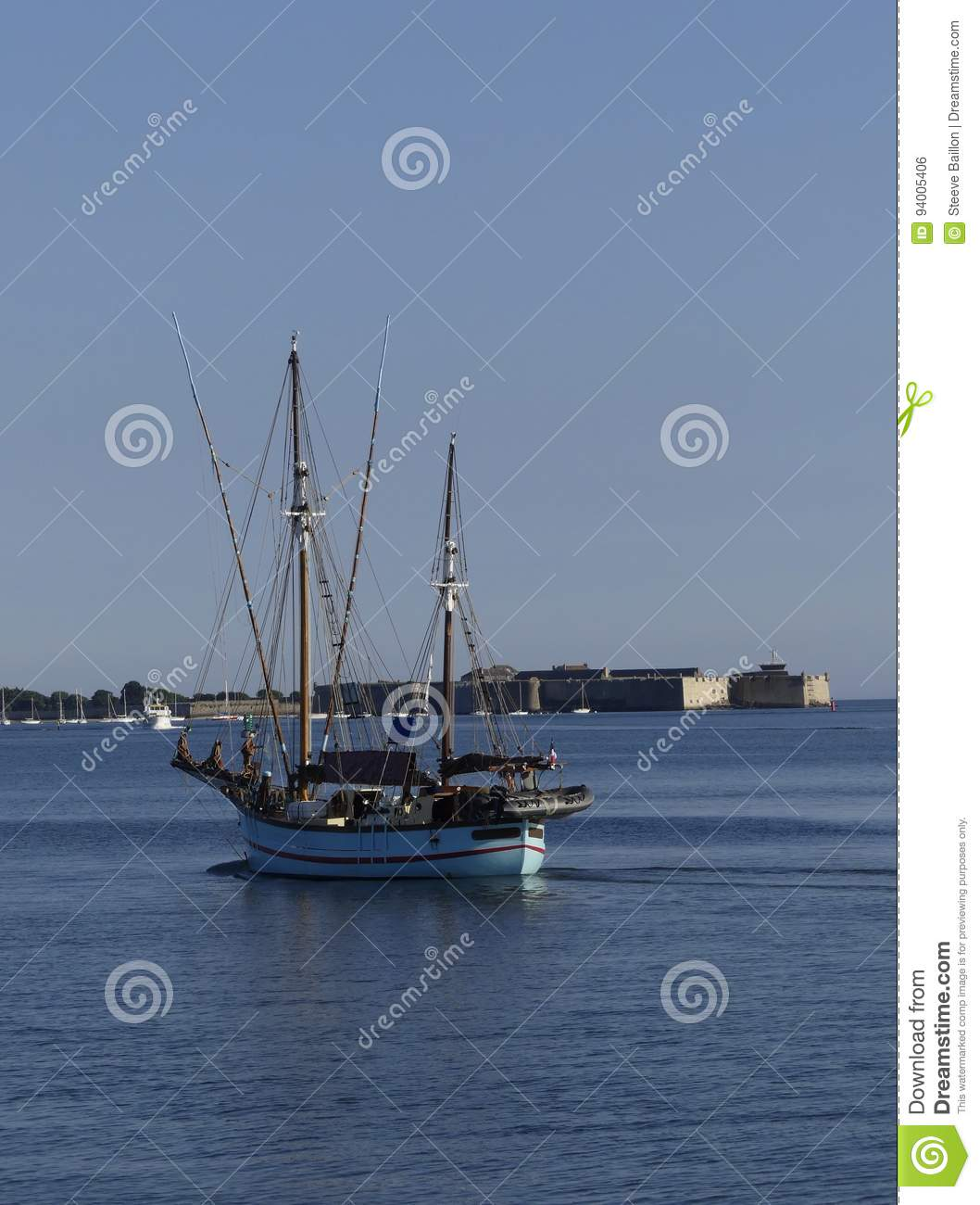 Old Wooden Sailing Boat Underway At Sea Stock Photo Image Of Ropes