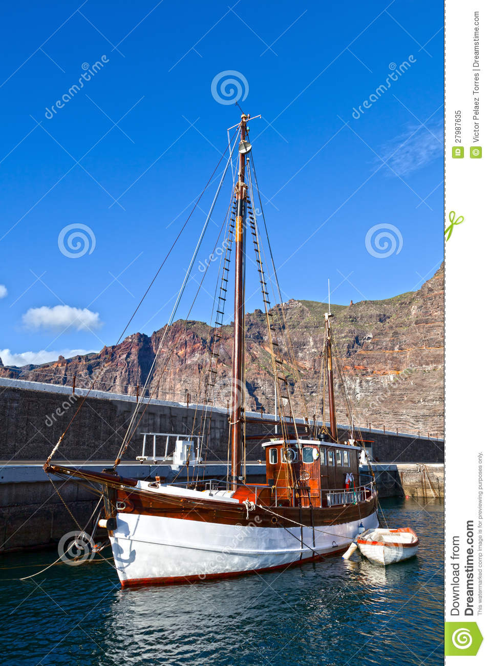 Old Wooden Sailboat In Puerto De Santiago Royalty Free Stock Photo ...