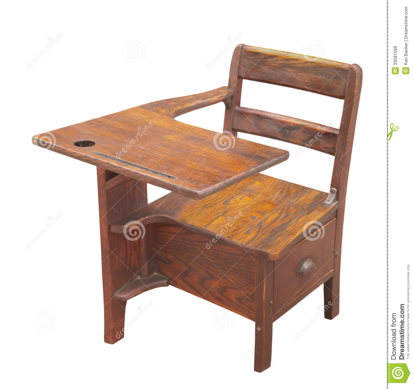 Old Wooden School Desk Isolated Royalty Free Stock Images