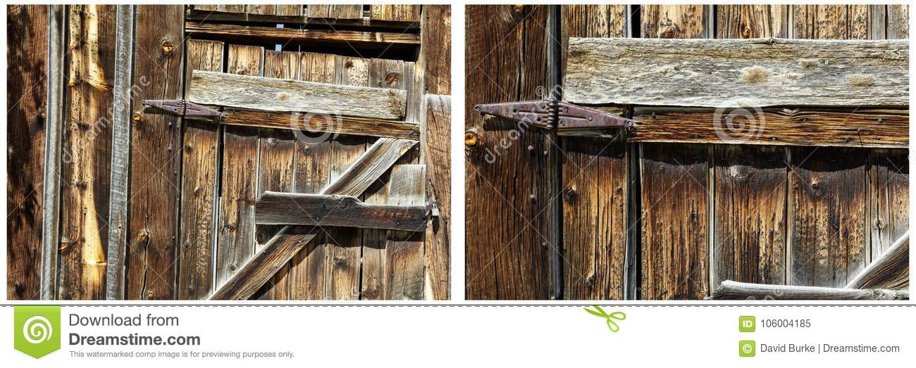 Old wooden shed door rusted hinges collage