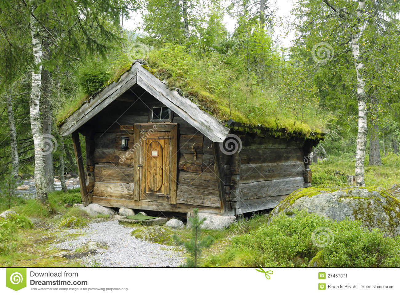 Old Wooden Shed With A Green Roof In Norway Stock Image ...