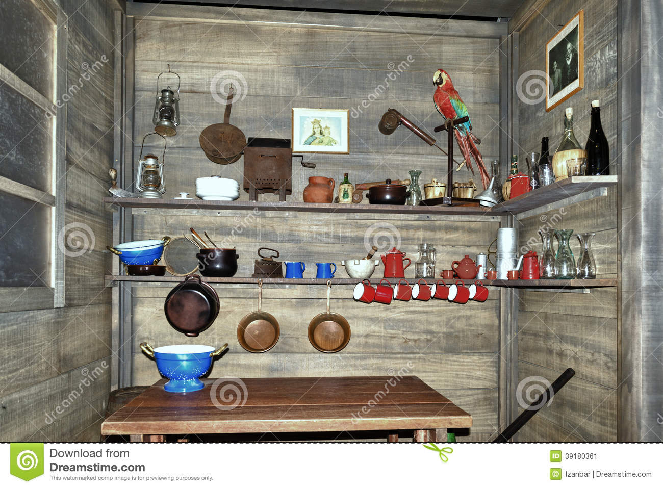 Old wooden ship pantry