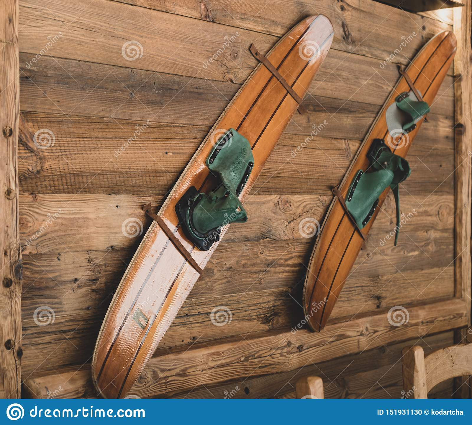 Old Wooden Skis On A Wall As A Decoration Stock Photo Image Of