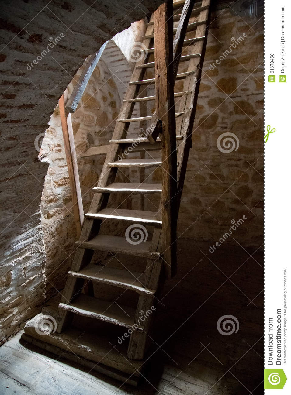 Staircase With Wooden Tower : Old wooden stairs in the tower stock photo image of holy