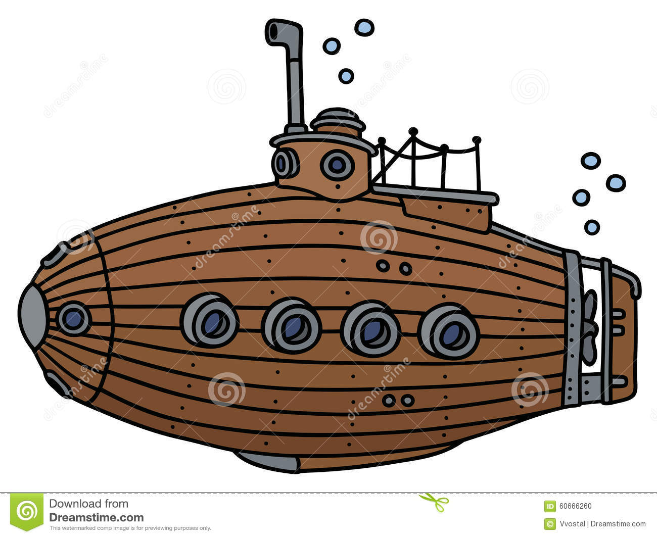 Old Wooden Submarine Stock Vector - Image: 60666260