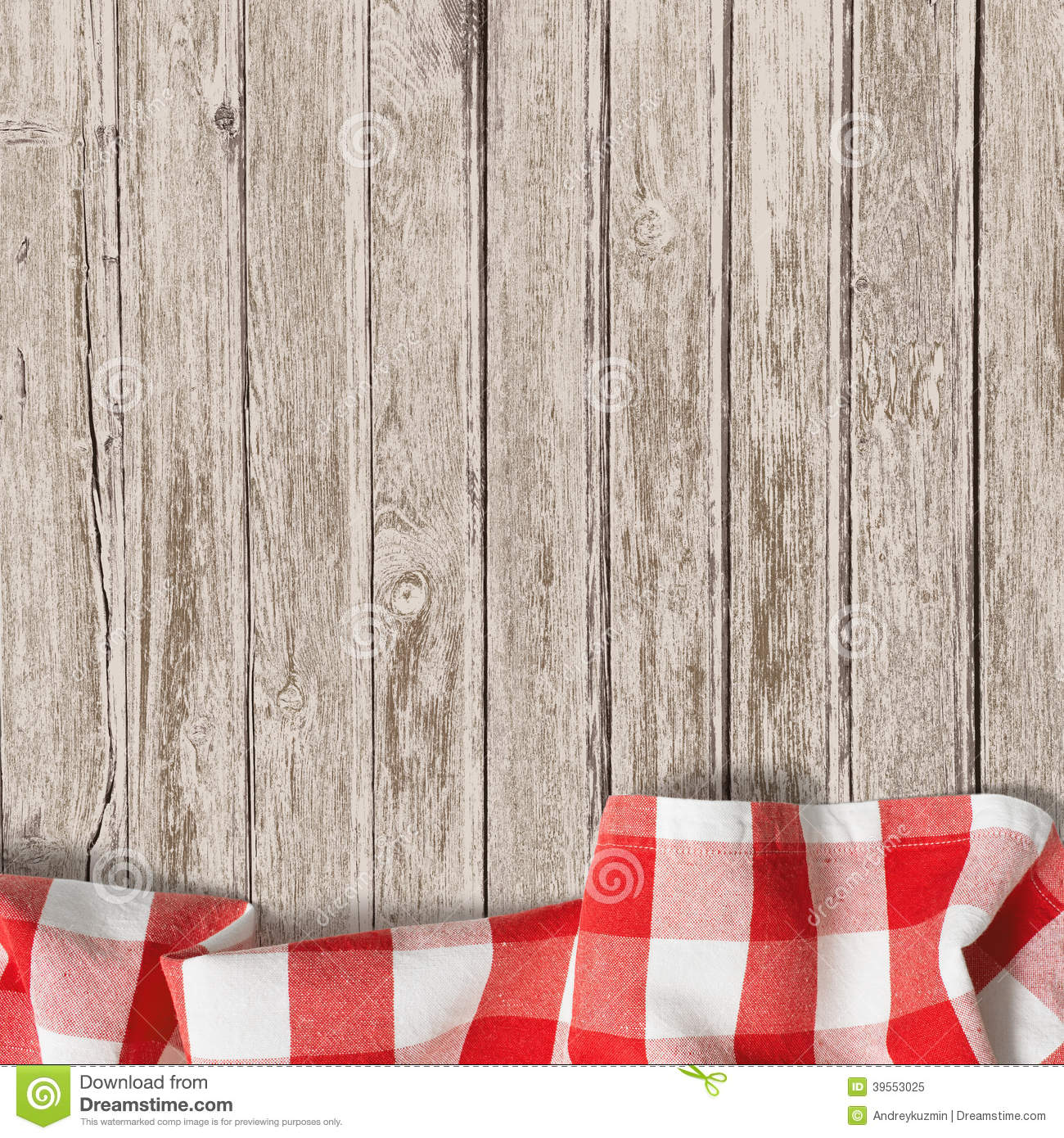 Old Wooden Table Background With Picnic Tablecloth Stock Photo - Image ...