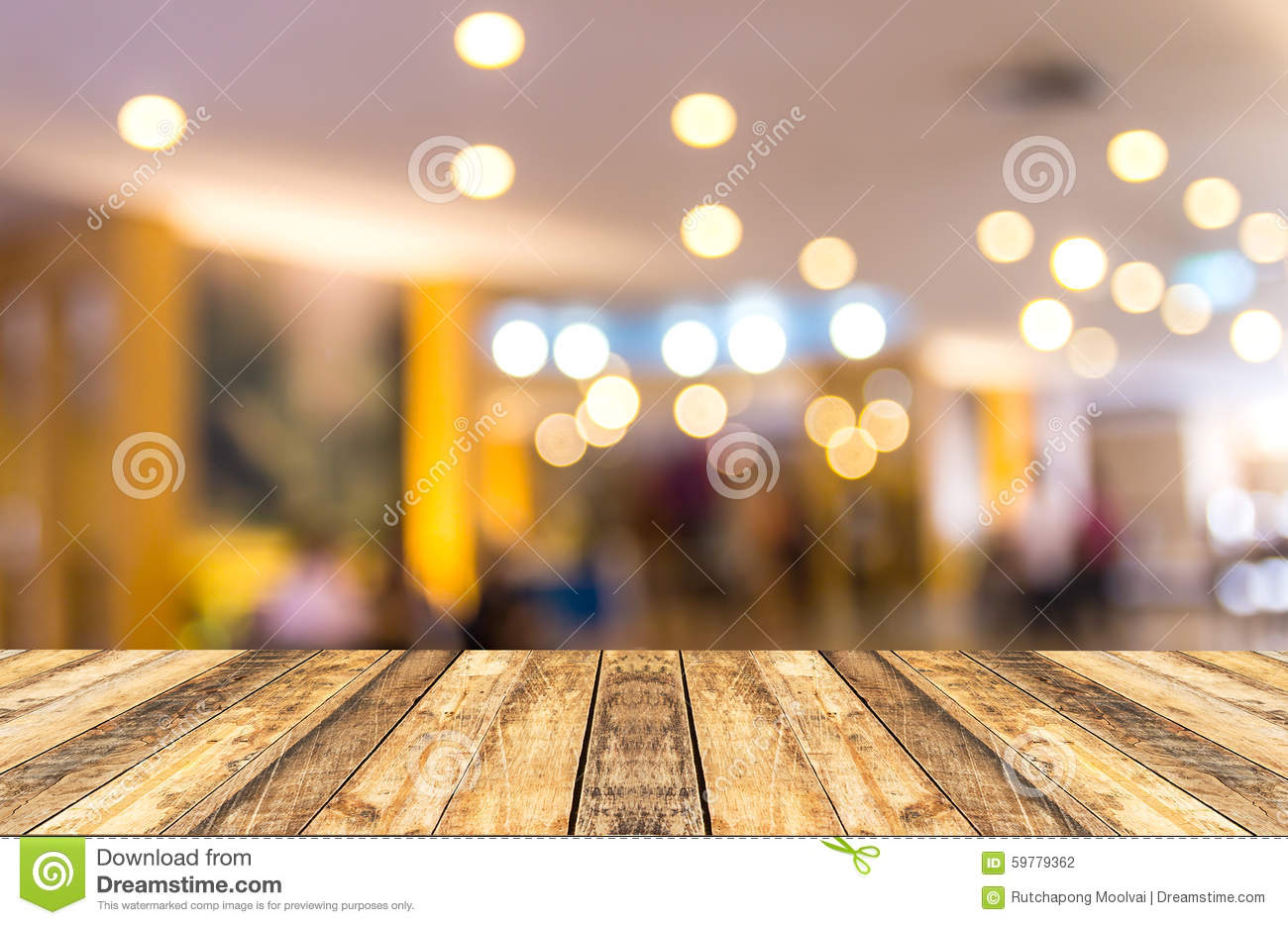 Old wooden table with blurred hotel lobby background stock photo image 59779362 - Photo image design ...