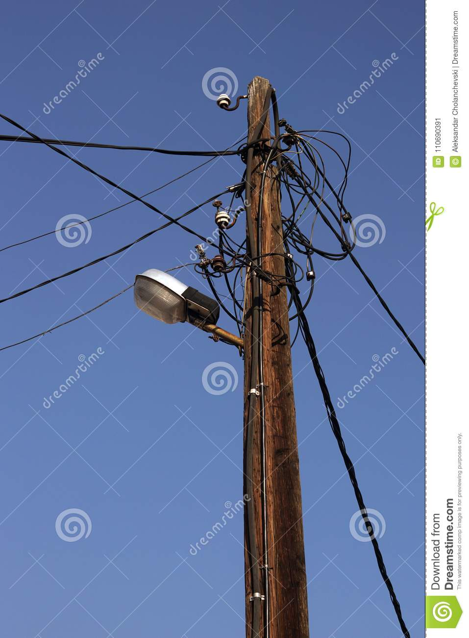 Old Wooden Telegraph Pole Stock Image Of Blue 110690391 Wiring A Lamp