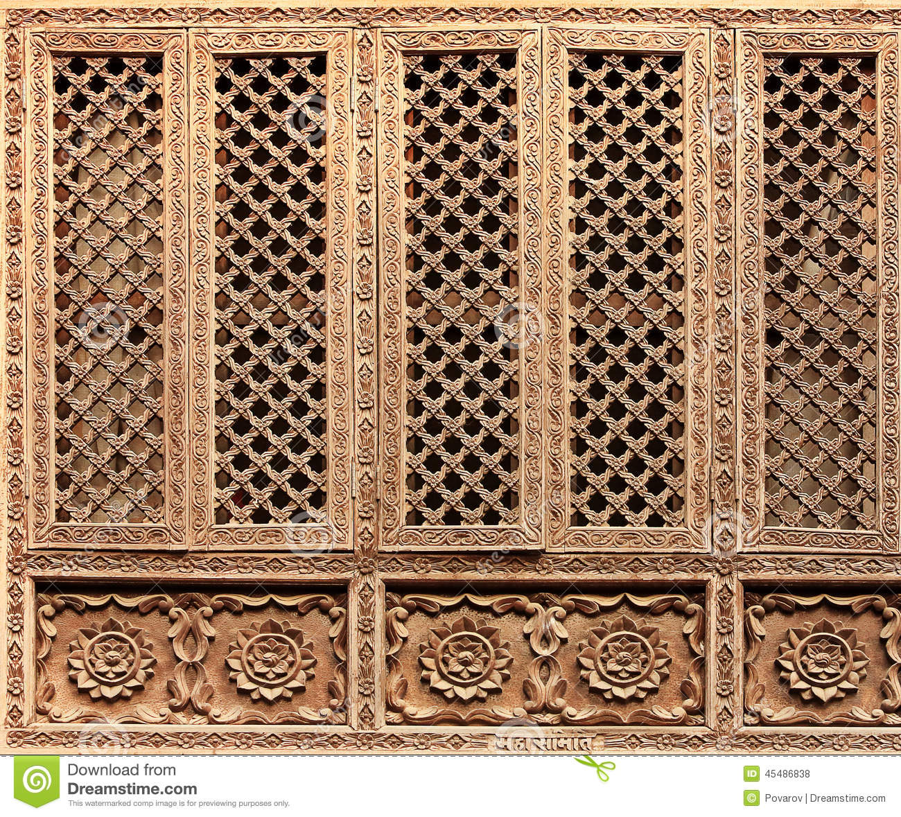 Old wooden traditional nepalese window detail stock photo for Window design in nepal