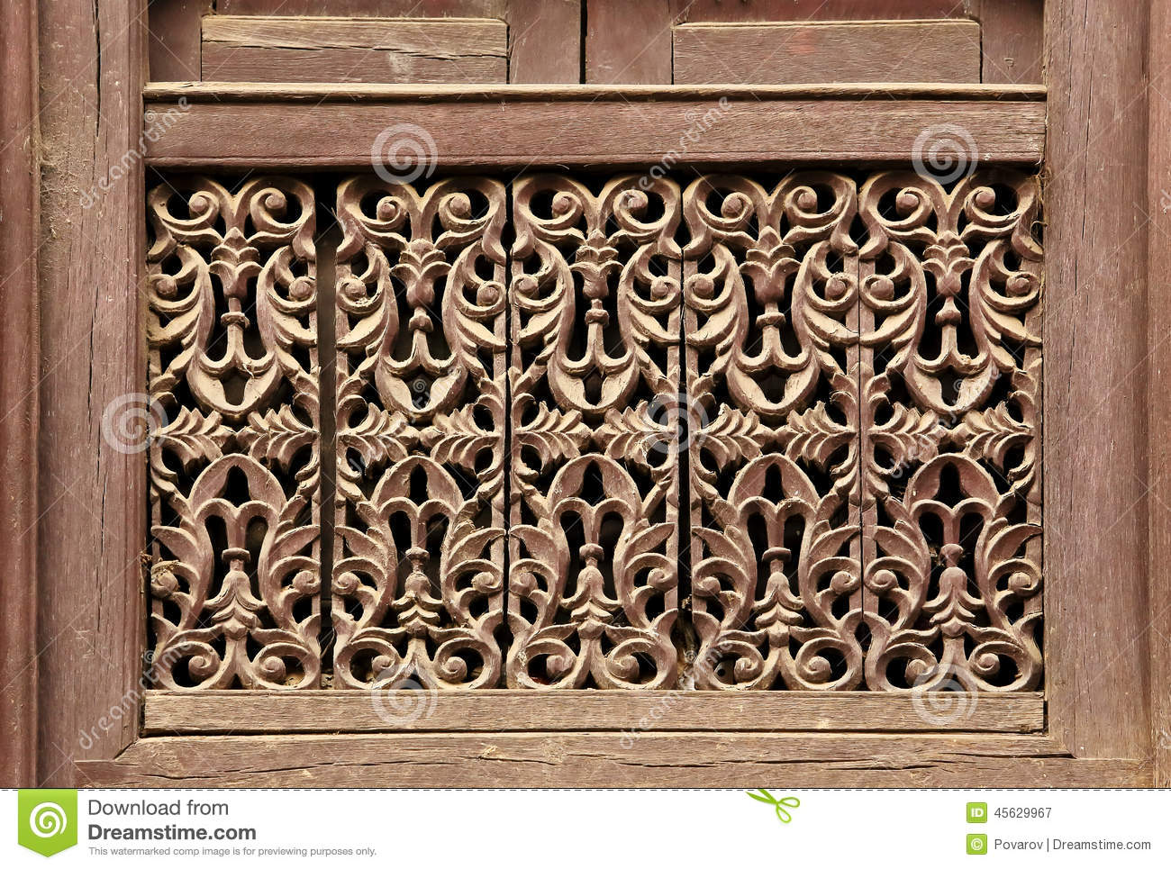 Old wooden traditional nepalese window detail nepal stock for Window design in nepal