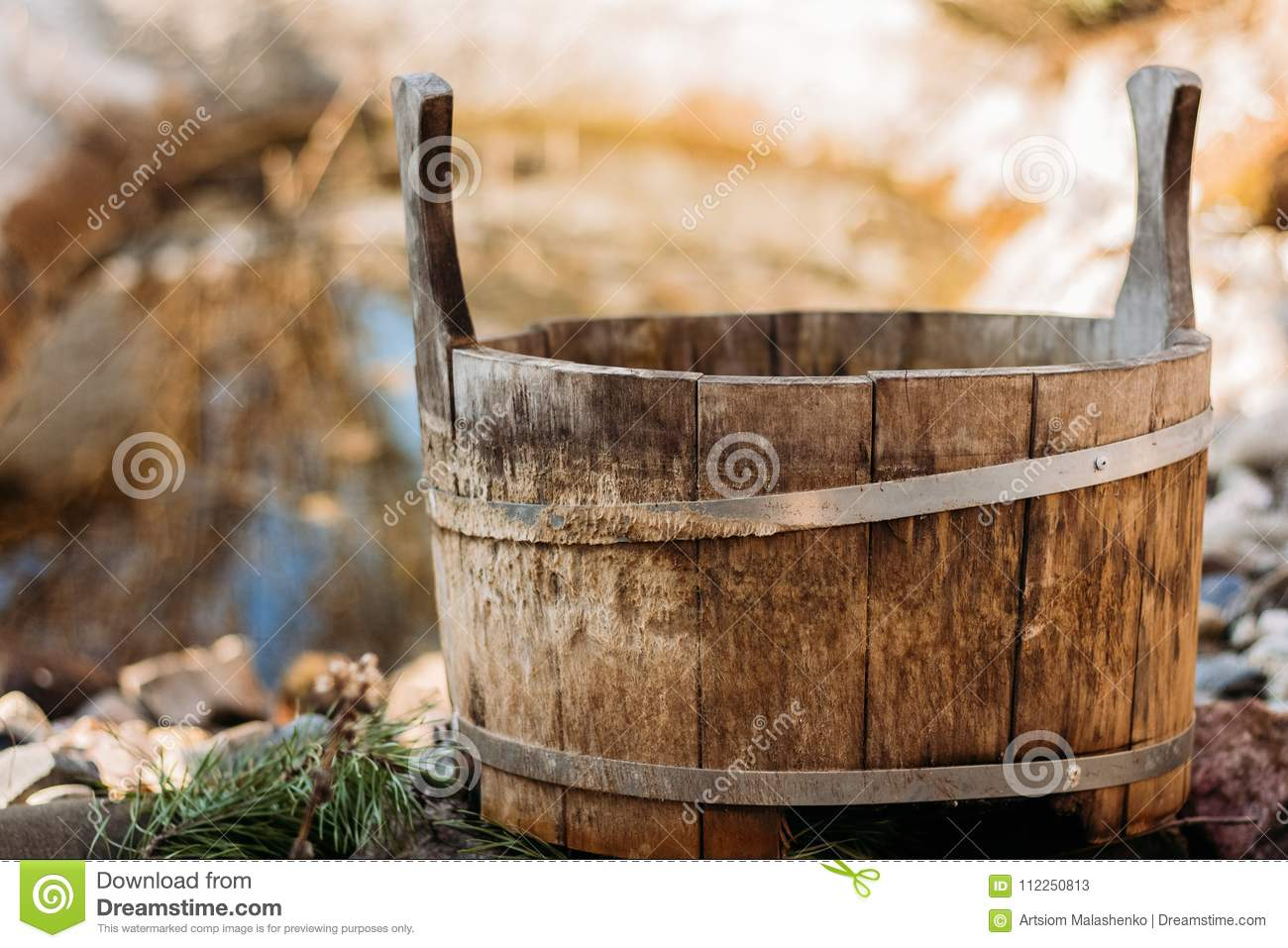 Old wooden bath tub stock image. Image of object, pond - 112250813