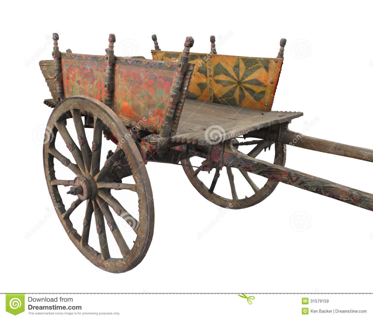Old Wooden Two-wheeled Cart Isolated Royalty Free Stock Images - Image ...