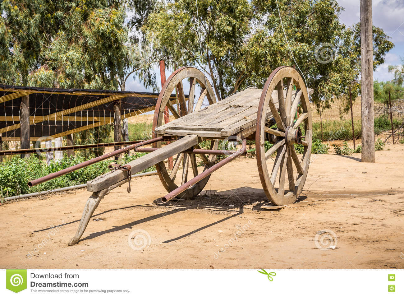 Old Wooden Two-wheeled Cart Stock Photo